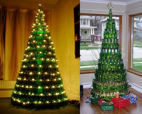 Recycled glass bottle trees pick your poison seeing for How to make a beer bottle christmas tree